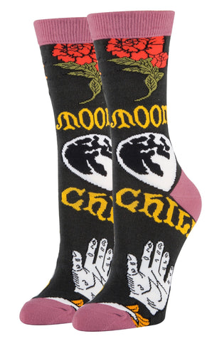 Moon Child Women's Crew Socks in Moon Sun Design