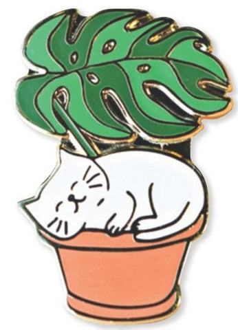 Leaf Me Be Cat and Plant Enamel Pin