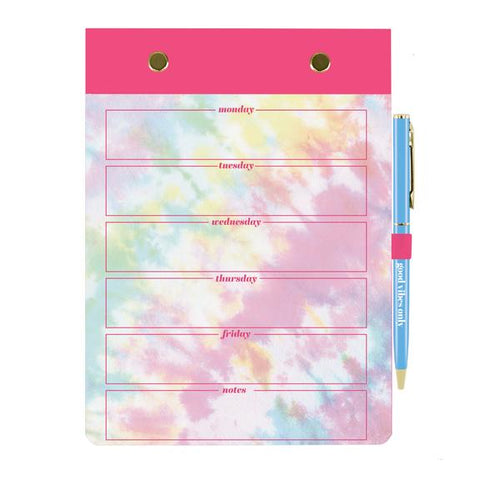 "Tie Dye Weekly Notepad And Pen Gift Set | 5.5"" x 7.5"" 