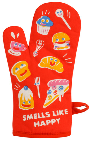 Smells Like Happy Oven Mitt in Red | Thermal Pot Holder Illustrated Design