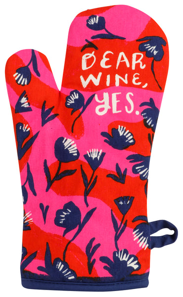 Dear Wine, Yes Oven Mitt | Thermal Pot Holder in Blue Flowers Design