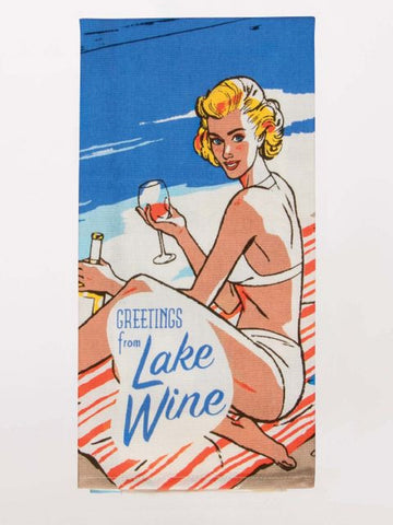 Greeting from Lake Wine  Dish Towel in Retro Swim