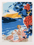 Greeting from Lake Wine Screen-Printed Blue Multicolored Bright Funny Snarky Dish Cloth Towel / Novelty Silly Tea Towels / Cute Hilarious Unique Kitchen Hand Towel