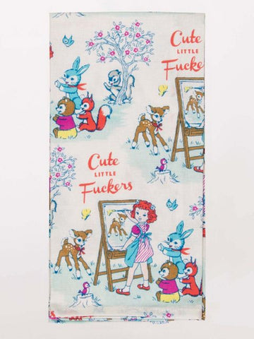 Cute Little Fuckers Dish Towel with Girl and Animals
