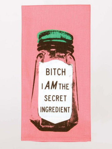 Bitch I Am The Secret Ingredient Condiments Container Funny Pink Green Sweary / Snarky Dish Cloth Towel / Novelty Silly Tea Towels / Cute Hilarious Unique Kitchen Hand Towel