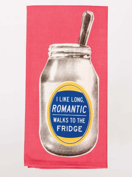 I Like Long Romantic Walks To The Fridge Screen-Printed Pink Blue Funny Snarky Dish Cloth Towel / Novelty Silly Tea Towels / Cute Hilarious Unique Kitchen Hand Towel