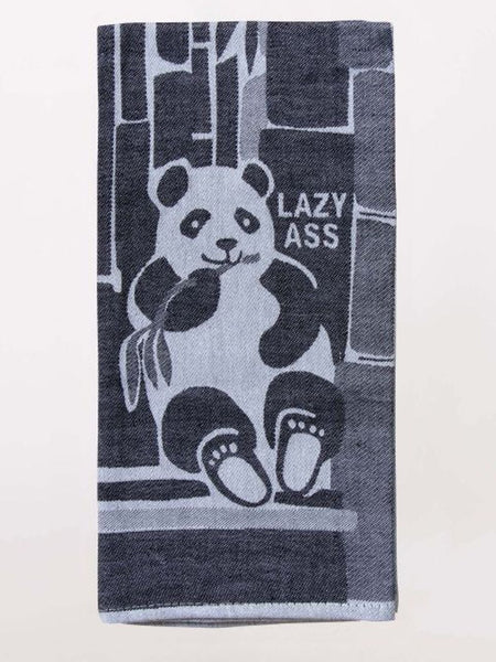 "Lazy Ass Panda Eating Bamboo Woven Sweary Funny Snarky Dish Cloth Towel | Soft Absorbent Jacquard | 100% Cotton Hand or Tea Towel 21"" x 28"""