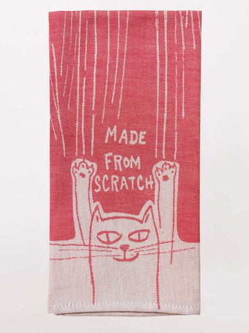 "Made From Scratch Kitty Cat Woven Funny Snarky Dish Cloth Towel | Soft Absorbent Jacquard | 100% Cotton Hand or Tea Towel 21"" x 28"""
