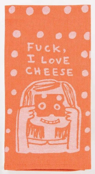 "Fuck, I Love Cheese Woven Dish Towel Funny Sweary Snarky Dish Cloth Towel | Soft Absorbent Jacquard | 100% Cotton Hand or Tea Towel 21"" x 28"""