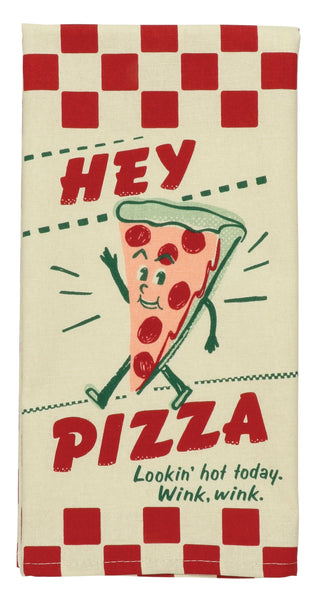 Hey Pizza - Lookin' Hot Today - Wink Wink Screen-Printed Funny Snarky Multicolored Dish Cloth Towel / Novelty Silly Tea Towels / Cute Hilarious Kitchen Hand Towel