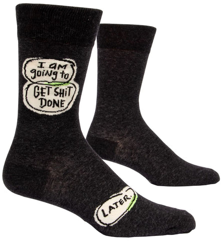 Get Shit Done...Later Men's Crew Socks, Hipster/Nerdy/Geeky/Trendy, Black Funny Novelty Socks with Cool Design, Bold/Crazy/Unique Specialty Dress Socks
