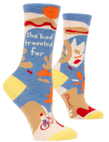 She Had Traveled Far Women's Crew Socks, Hipster/Nerdy/Geeky/Trendy, Colorful Funny Novelty Socks with Cool Design, Bold/Crazy/Unique Quirky Dress Socks