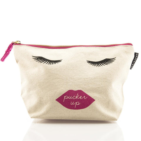 Pucker Up Pink Lips Canvas Cute/Cool/Unique Zipper Pouch/Bag/Clutch/Cosmetic Bag
