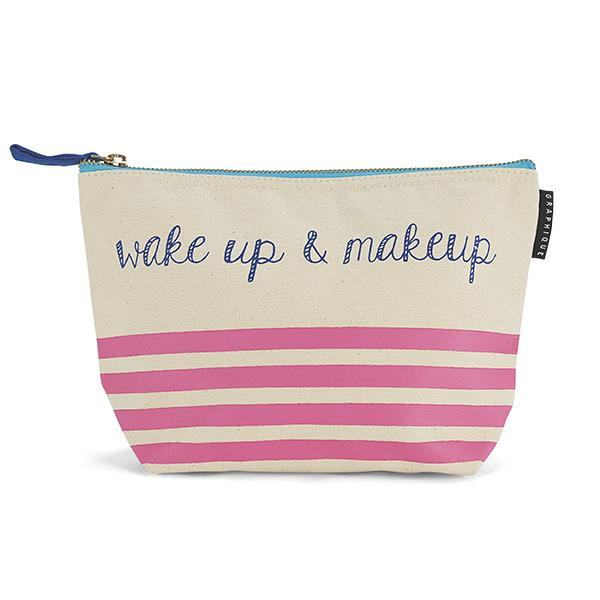 Wake Up & Makeup Pretty Pink Stripes Canvas Cute/Cool/Unique Zipper Pouch/Bag/Clutch/Cosmetic Bag