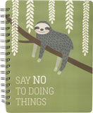 Say No To Doing Things Sloth Spiral Notebook in Mossy Green