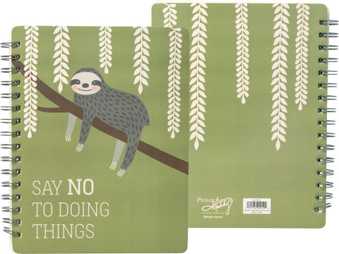 "Say No To Doing Things Sloth Spiral Notebook in Mossy Green | Art on Both Sides | 9"" x 7"" 