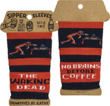 The Walking Dead No Brains Before Coffee Sipper Sleeves in Black and Red Stripes