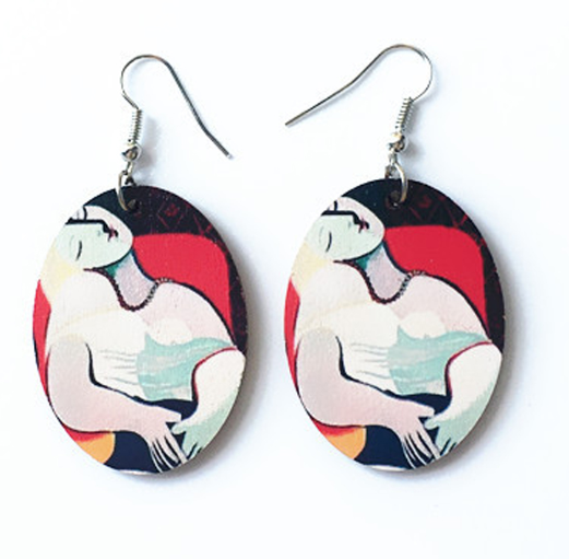 Vintage Picasso Oil Painting Drop Earrings (Abstract Image of a Woman)