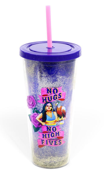 No Hugs, No High Fives Badass Glitter Tumbler with Straw | Holds 20 Oz. | Art by Sarah NoSpecialName