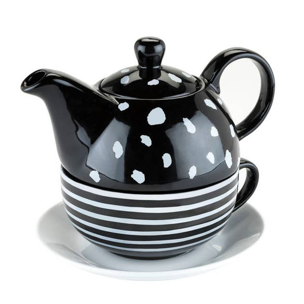 Addison Tea for One Teapot, Cup, and Saucer Set in Gift Box | Black and White Dot
