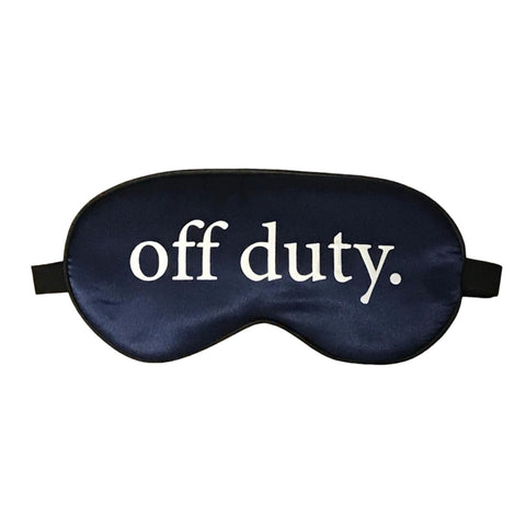 Off Duty Silk Sleep Mask in Navy Blue with White print