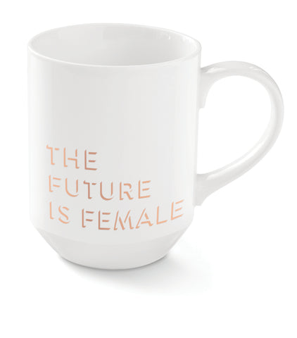 The Future Is Female Mug in White and Rose Gold Metallic