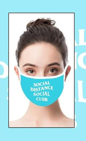 Social Distance Social Club Face Cover with Adjustable Nose Bridge and Ear Straps | 2 Layers of Protection | Water Resistant