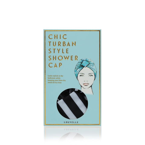 Louvelle - Amelie Shower Cap In Monochrome Stripe