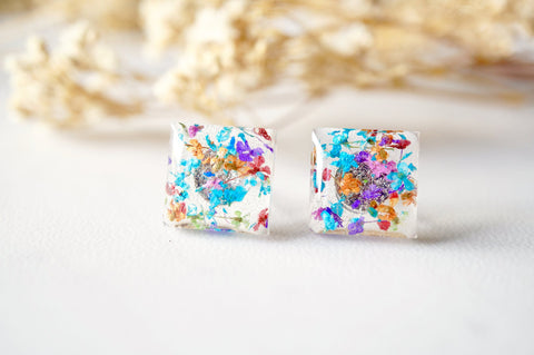 Square Real Dried Flowers and Resin Stud Earrings