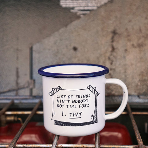 List Of Things Enamel Camping Coffee Mug