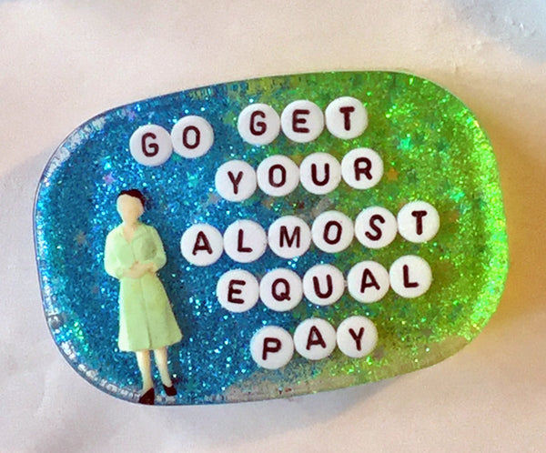 Go Get Your Almost Equal Pay Shower Art in Blue and Green Glitter