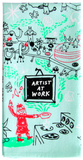 Artist at Work Screen-Printed Blue Multicolored Funny Snarky Dish Cloth Towel / Novelty Silly Tea Towels / Cute Hilarious Kitchen Hand Towel