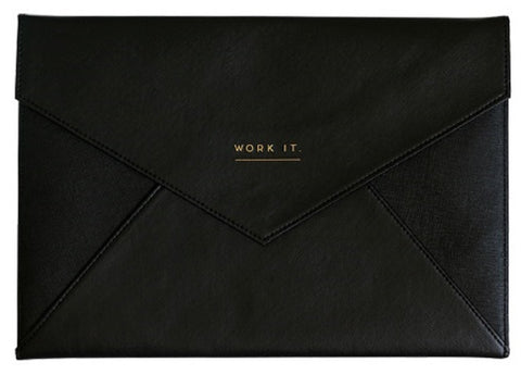 Work It A4 Size Document Wallet Portfolio in Black and Gold