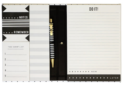 Master Plan Stationery Set with Pen in Black and White