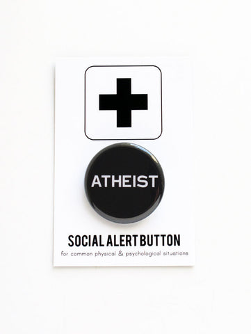 Atheist Button in Black