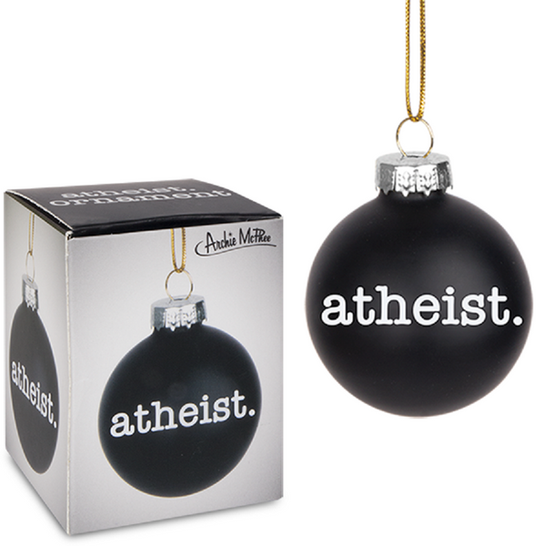 Atheist Holiday Glass Ornament in Black