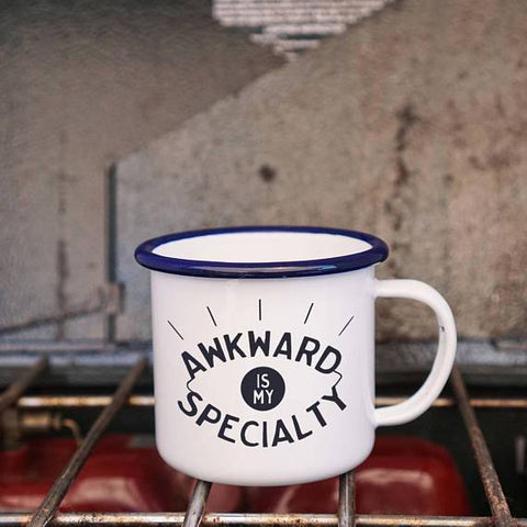 Awkward is my Specialty Enamel Camping Coffee Mug in Blue and White