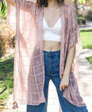 Windowpane Lurex Tassel Duster in Rose, Olive, Jean Blue, or Charcoal