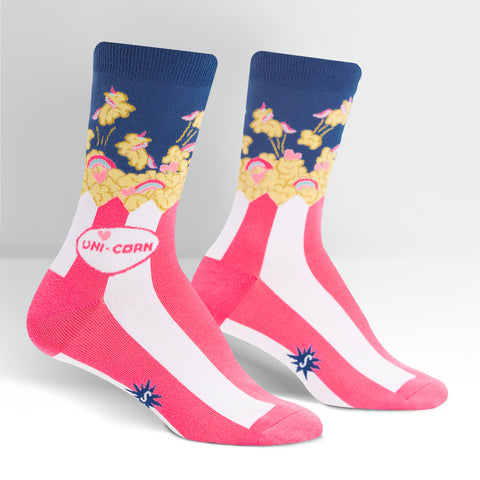 Uni-corn Unicorn Popcorn Women's Crew Socks in Pink and Blue