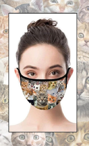 Cats Face Cover with Adjustable Nose Bridge and Ear Straps | 2 Layers of Protection | Water Resistant
