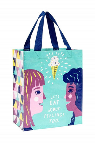 Last Call! Let's Eat Your Feelings Too Handy Tote in Sky Blue
