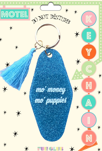 Mo' Money Mo' Puppies Keychain in Blue Glitter