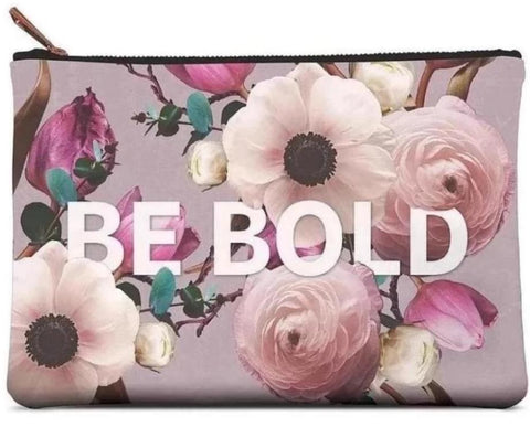 Be Bold Large Zippered Pouch in Floral Design