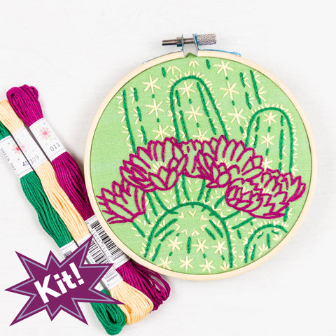 "Blooming Cactus 5"" Embroidery Kit in Green"