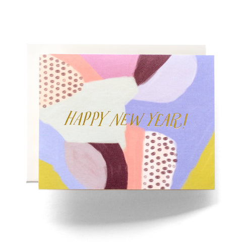 Abstract New Years Greeting Card in Multicolor