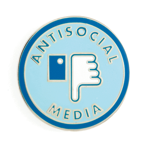 Antisocial Media Enamel Pin in Blue