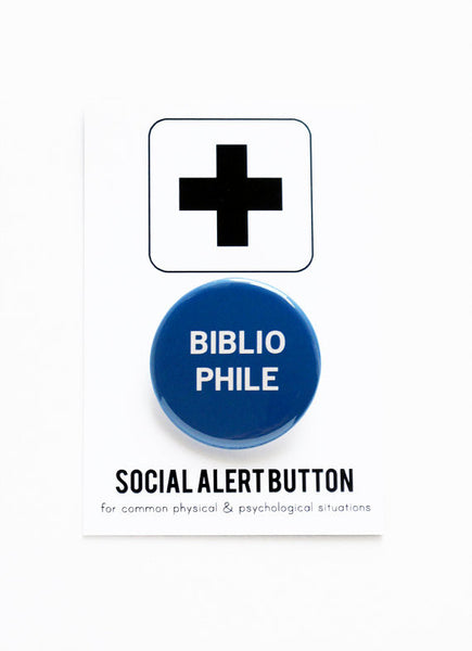 Bibliophile Button Pin in Blue and White