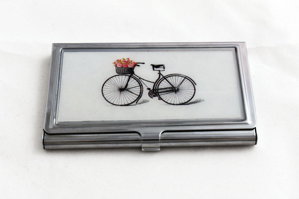 Bicycle with Flowers Business Card Case in Silver – The Bullish Store