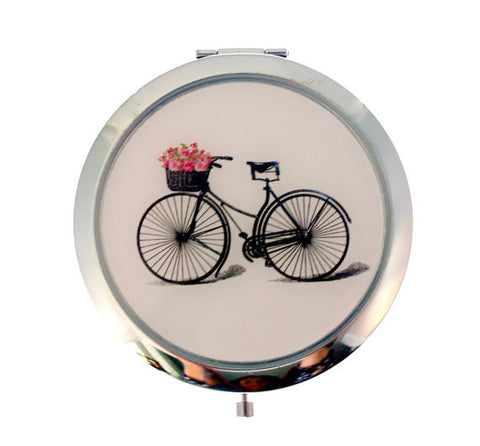 Bicycle with Flower Basket Compact Mirror