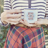 Bitches Love Coffee Enamel Camping Coffee Mug